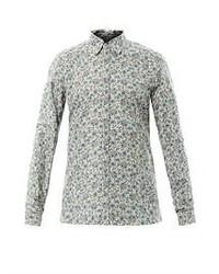 Camisa de manga larga con print de flores gris