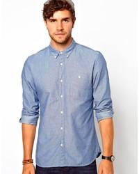 Camisa de manga larga de cambray a lunares azul