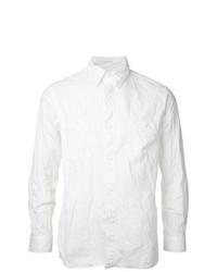 Camisa de manga larga de cambray blanca