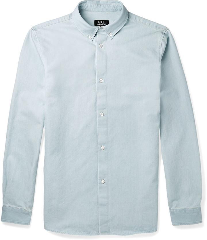 178f1107f ... Camisa de manga larga de cambray celeste de A.P.C. ...