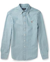 Camisa de manga larga de cambray celeste de Polo Ralph Lauren