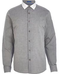 Camisa de manga larga de cambray gris