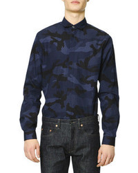 Camisa de manga larga de camuflaje azul marino