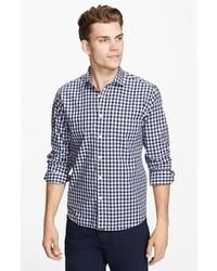 Camisa de manga larga de cuadro vichy azul marino