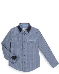 Camisa de manga larga de cuadro vichy azul marino de Armani Junior
