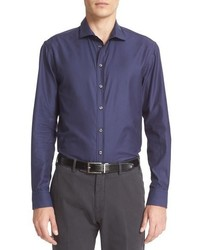 Camisa de manga larga de cuadro vichy azul de Armani Collezioni