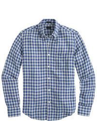 Camisa de manga larga de cuadro vichy azul de J.Crew