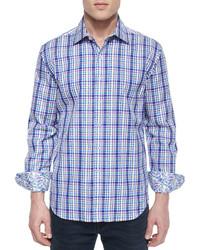 Camisa de manga larga de cuadro vichy azul de Robert Graham