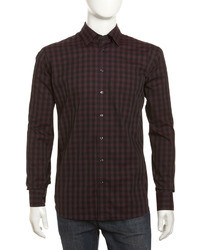 Camisa de manga larga de cuadro vichy burdeos