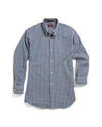 Camisa de manga larga de cuadro vichy en azul marino y blanco de Hickey Freeman