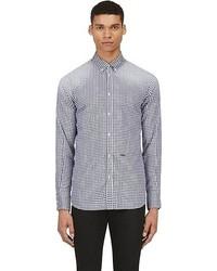 Camisa de manga larga de cuadro vichy en blanco y azul marino de DSquared