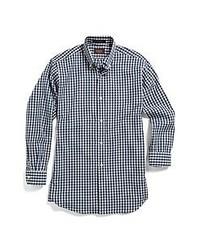 Camisa de manga larga de cuadro vichy en blanco y azul marino de Hickey Freeman