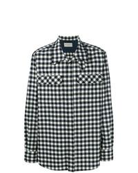 Camisa de manga larga de cuadro vichy en blanco y azul marino de Holland & Holland