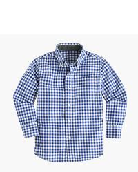 Camisa de manga larga de cuadro vichy en blanco y azul marino de J.Crew
