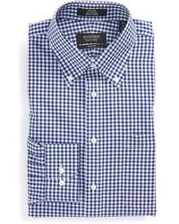 Camisa de manga larga de cuadro vichy en blanco y azul marino de Nordstrom