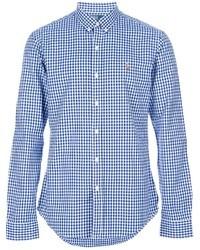 Camisa de manga larga de cuadro vichy en blanco y azul