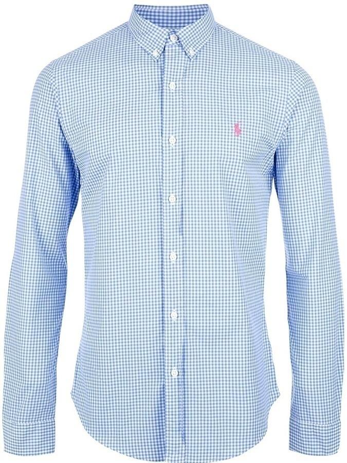 Camisa de manga larga de cuadro vichy en blanco y azul de Polo Ralph Lauren