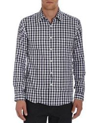 Camisa de manga larga de cuadro vichy en blanco y negro