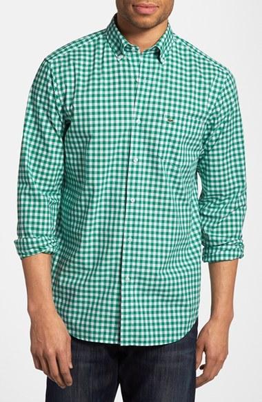 54f0551a5fc5d ... Camisa de Manga Larga de Cuadro Vichy en Blanco y Verde de Lacoste ...