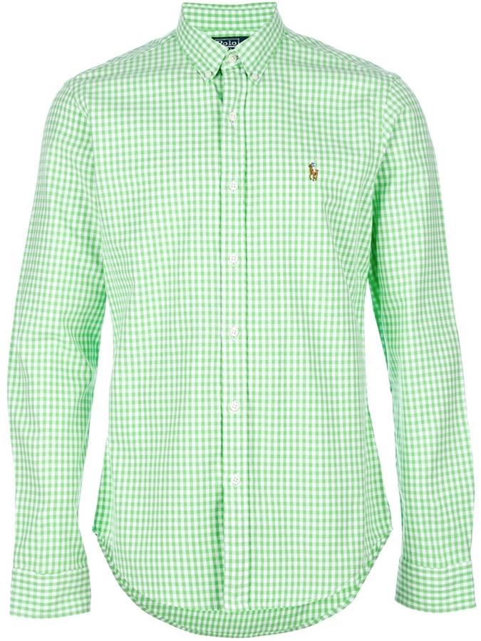 84e87f3d27e3 ... Camisa de Manga Larga de Cuadro Vichy en Blanco y Verde de Polo Ralph  Lauren