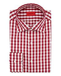 Camisa de manga larga de cuadro vichy en rojo y blanco