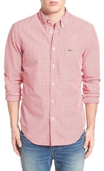 8758b78bceeba ... Camisa de Manga Larga de Cuadro Vichy en Rojo y Blanco de Lacoste ...