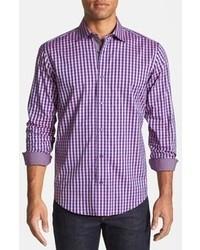 Camisa de manga larga de cuadro vichy en violeta