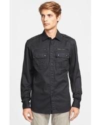 Camisa de manga larga de cuero negra de Belstaff