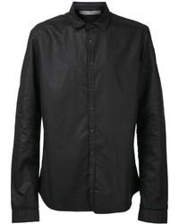 Camisa de manga larga de cuero negra