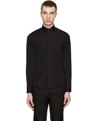 Camisa de manga larga de cuero negra de Givenchy