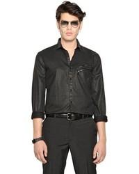 Camisa de manga larga de cuero negra de John Varvatos
