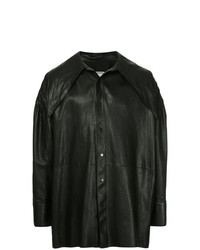 Camisa de manga larga de cuero negra de Wooyoungmi
