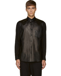 Camisa de manga larga de cuero negra de Yohji Yamamoto