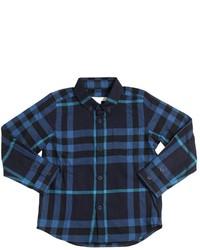 Camisa de manga larga de franela a cuadros azul marino de Burberry