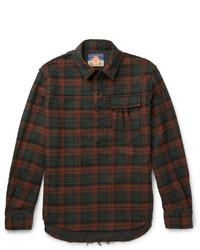 Camisa de manga larga de franela a cuadros burdeos