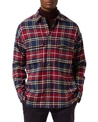 Camisa de manga larga de franela a cuadros burdeos de Topman