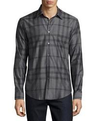 Camisa de manga larga de franela a cuadros en gris oscuro de Burberry