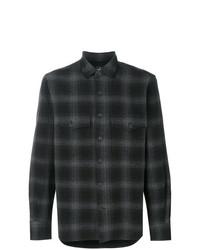 Camisa de manga larga de franela a cuadros en gris oscuro de Marcelo Burlon County of Milan