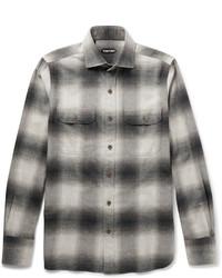Camisa de manga larga de franela a cuadros gris