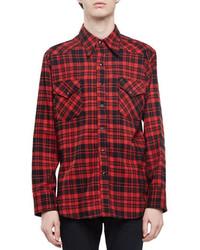 Camisa de manga larga de franela a cuadros roja