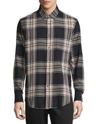 Camisa de manga larga de franela de tartán azul marino