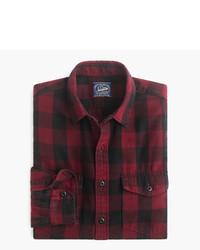 Camisa de manga larga de franela de tartán burdeos de J.Crew