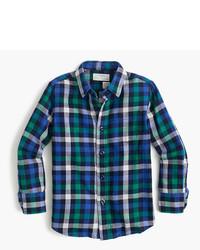 Camisa de manga larga de franela de tartán en verde azulado de J.Crew