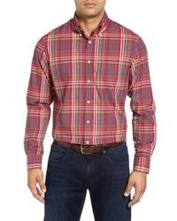 Camisa de manga larga de franela de tartán roja de Bobby Jones