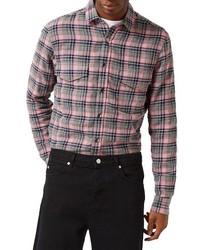 Camisa de manga larga de franela de tartán rosada de Topman