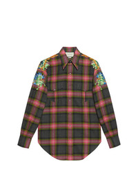 Camisa de manga larga de lana a cuadros en gris oscuro de Gucci