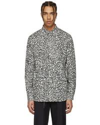 Camisa de manga larga de leopardo en blanco y negro