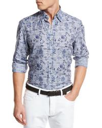 Camisa de Manga Larga de Lino a Cuadros Azul de Ermenegildo Zegna