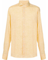 Camisa de manga larga de lino amarilla