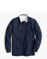 Camisa de manga larga de lino azul marino